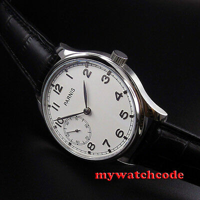 44mm parnis white dial silver marks hand winding 6497 mens wrist watch P516