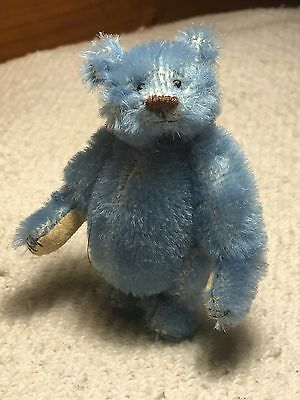 Miniature Hand Sewn 3in. Alfonso Blue Mohair Teddy Bear by Lori Wright