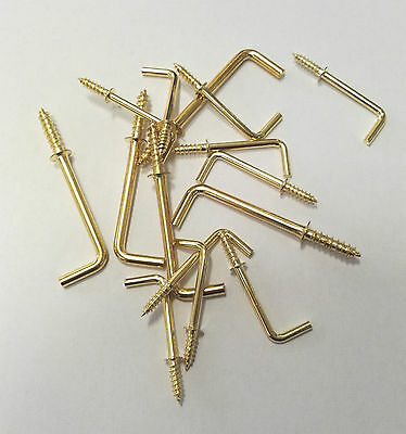 """Quality Square Shouldered Dressed Cup Hooks, Electro Brass, 25mm 1""""/38mm 1 1/2"""""""