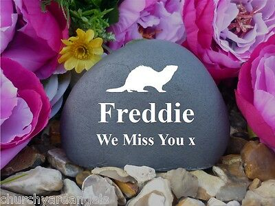 Pet Memorial Pebble (Stone effect) - Personalised - Weatherproof - Ferret - FS