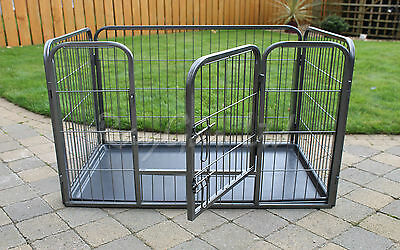 RayGar Heavy Duty Dog Pen Cage Strong Large Crate Whelping Play Pen & Free Tray