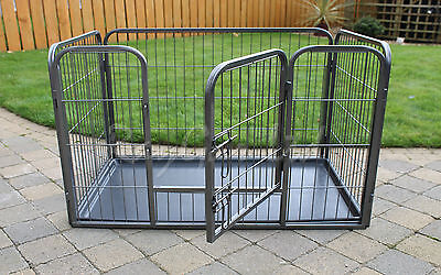 RayGar Heavy Duty Dog Pen Cage Strong Medium Crate Whelping Play Pen & Free Tray