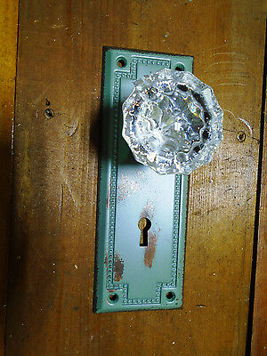 Authentic  Victorian Back Plate & Glass Door Knob  -  2704-Cg