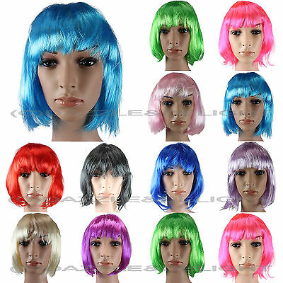 Bob Wig Short Ladies Wig Fancy Dress Cosplay Festival Black Blonde All Colours