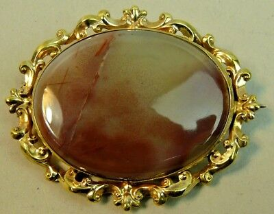 Fine Victorian Gold Plated Agate Brooch C.1890