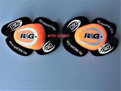 R&G Racing PAIR Knee Sliders in ORANGE / BLACK with  R&G LOGO