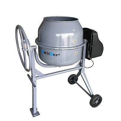 Switzer Electric Cement Mixer – Portable Mortar Plaster Concrete Drum 650W 140L