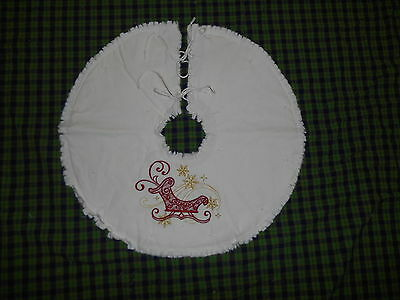 """SLEIGH AND SNOWFLAKES Embroidered Tree Skirt,18"""",Christmas,Country"""