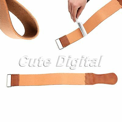 Genuine Leather Strop Professional Barber Shaving Straight Razor Sharpener Strap