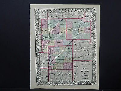 Illinois County Map 1870, Fayette, Effingham, & Marion Counties Z1#07