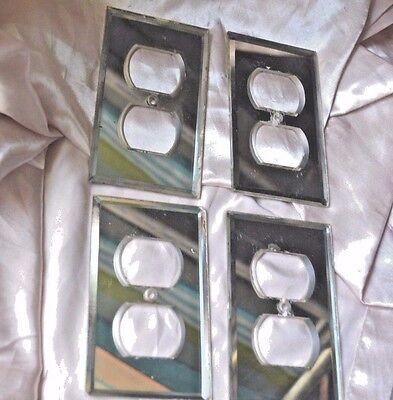 Vintage Mirror Double Outlet Switch Plates Set of 4