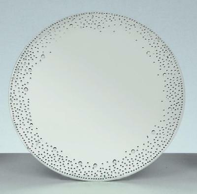 New 20cm Diameter Silver Mirror Candle Plate With Crystals Round