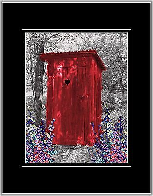 Red Gray Privy Wall Art Photo Print Vintage Outhouse Home Bath Decor Bathroom