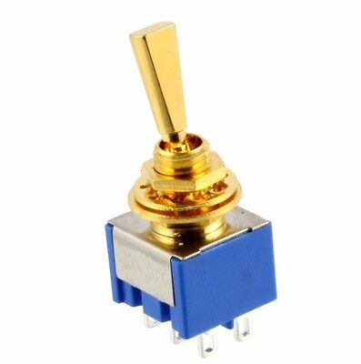 NEW ON-OFF-ON 3-way DPDT Mini Toggle Switch Flat Lever for Guitar or Bass - GOLD
