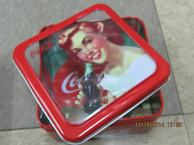 "Coca-Cola Tin Box Square Window ""Serve Coca-Cola at Home  "" - NEW"