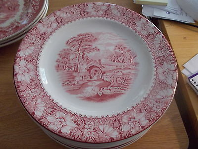 Wood & Sons Pink Colonial - 10 Dinner Plates - Transferware