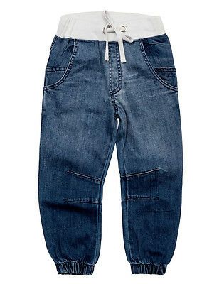 Bao Bab Girls Boys Harem Ribbed Jean With Elastic Cuff At Hem And Elastic Waist