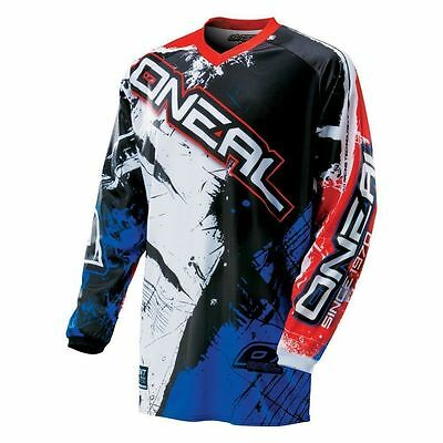 Oneal Mx 2017 Element Shocker  Jersey Black/blue/red Adult Motocross Dirt Bike