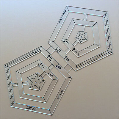 Quilting Sewing Patchwork Craft Scale Ruler Pentagon Polygon Foot Tailor Tools