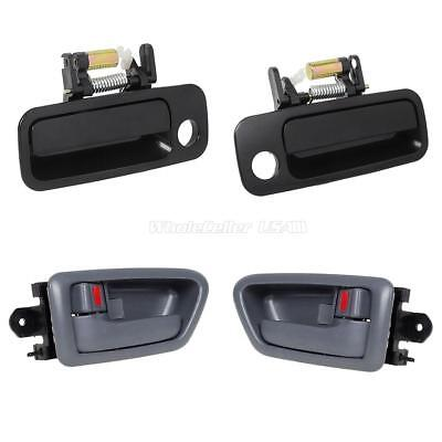 Set 4 Gray Inside Black Outside Front LH RH Door Handle for 97-01 Toyota Camry