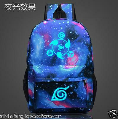 Fashion Anime Cartoon NARUTO Shoulder Backpack Luminous Zipper Student Schoolbag
