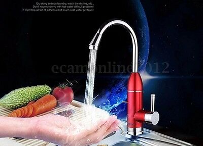 360°LED Tankless Electric Faucet Kitchen Instant Water Heater Hot Cold Mixer Tap