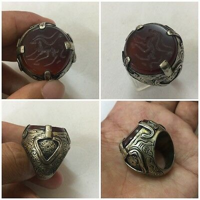 Men's Islamic Ring AGATE Afghan Stone Middle East Animal Engraved Intaglio 8 US