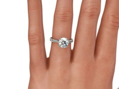 3.75 Ct Round D/Vs1 Clarity Enhanced Real Diamond Solitaire Ring Platinum