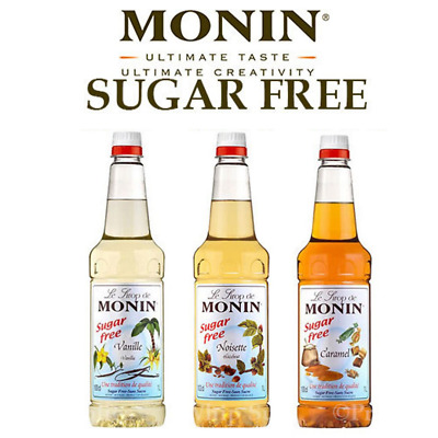 Monin Coffee Syrups SUGAR FREE 1 Litre Bottles TRIO Set AS USED BY COSTA COFFEE