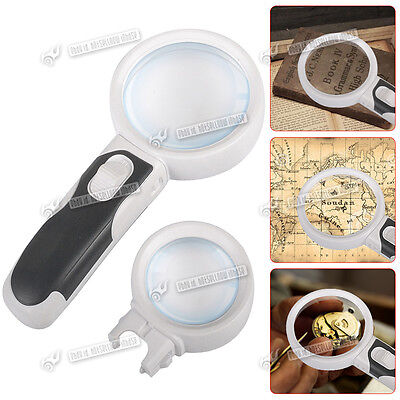 10X Magnifying Glass LED Power Magnifier Interchangeable 2 Lens Reading Study UK