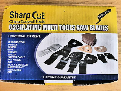 42 piece multi tool blade cutting set with numerous blades and accessories