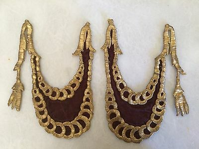 A Pair Of Antique Ottoman Turkish Gold Metallic Hand Embroidery For Applique .