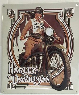 Ande Rooney HARLEY DAVIDSON NOUVEAU BABE Girl Garage Tin Sign HD Milwaukee