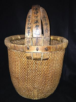 "Antique Old Asian Basket symbols on handle wooden 24"" tall 16"" wide"