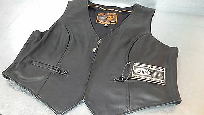 New first classics Black Leather Vest Size XXL Womens motorcycle vest 2XL
