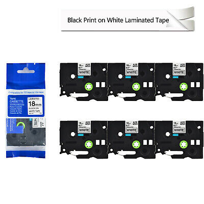 6PK TZe241 TZ 241 Black on White Label Tape For Brother P-Touch PT-340 18mm 3/4""