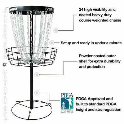 FREE SHIP!!* NEW MVP Black Hole Pro Disc Golf Basket - Portable - 24 Chains - V2