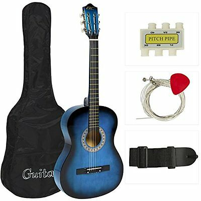 Blue Student Acoustic Guitar Starter Package Guitar Gig Bag Strap Pitch Pipe