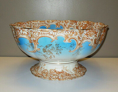 LRG Antique English Furnival Blue Daisy Scalloped Footed Punch Bowl Centrepiece