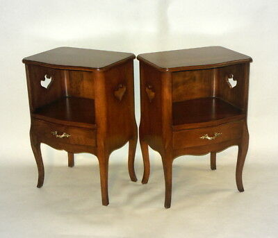 Pr Vtg Nightstands Side Night Tables Cabinets  Heart Country French Cabriole