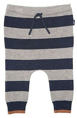 Fred Bare Boys Baby Animal Striped Navy/grey Knitted Leggings Cosmetic Tie