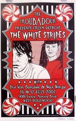 White Stripes | Troubadour, LA |  Orig. 2001 Poster | Art by D. Loren Signed*