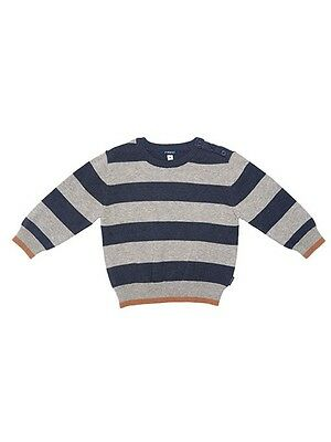 Fred Bare Boys Baby Animal Striped Navy/grey Knitted Jumper Buttons At Neckline
