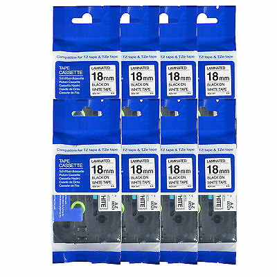 8PK TZe241 TZ 241 Black on White Label Tape For Brother P-Touch PT-350 18mm 3/4""