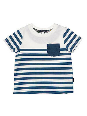 Fred Bare Boys Baby Sketch Stripe Tee With Solid Blue Pocket
