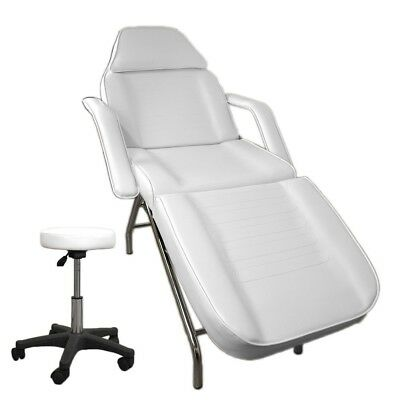 White Massage Table Facial Chair Bed Beauty Therapy White Stool Pack