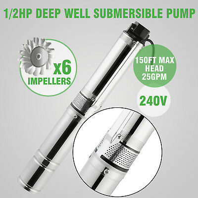 0.5 Hp/0.37Kw Deep Well Submersible Pump 6 Impellers Built-In Valve