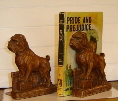 "Vintage Syroco Wood Bulldog Bookend Pair 1940's RARE 6.5"" Height Fine Detail A++"