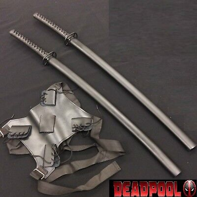 Deadpool Twin Black Swords w/ Back Strap Harness