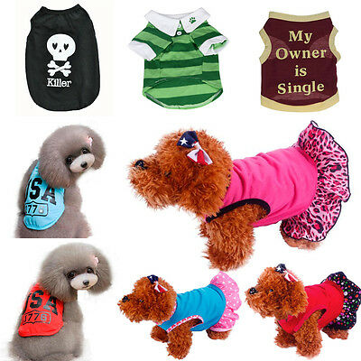 Pet Puppy Dog Cat Vest Top T-Shirt Coat Dress Sweater Apparel Costume Clothes